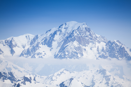Beautiful view of snow Mont Blanc peaks and clouds Reklamní fotografie - 115762354