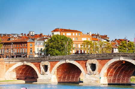 Pont Neuf bridge across Garonne river in Toulouse Stock Photo