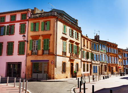 Lovely old houses on narrow streets of Toulouse
