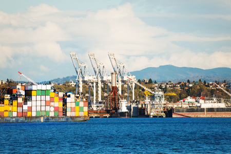 Cranes and stack of containers at terminal of the port
