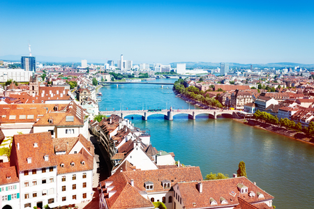 Top view of Basel cityscape and the Rhine river at sunny day, Switzerland, Europe Stock Photo