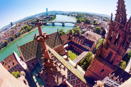 Fish-eye picture of the Rhine river embankment viewed from the Basel Minster cathedral at sunny day, Switzerland, Europe Stock Photo