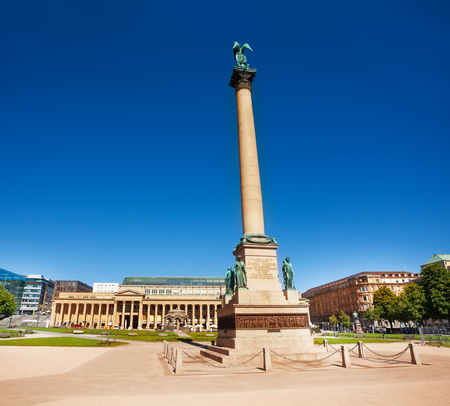 Schlossplatz Palace square with Concordia sculpture on the Jubilee column in Stuttgart City, Germany