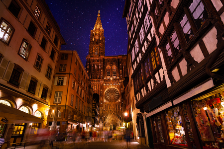Beautiful view of Strasbourg streets with Notre Dame Cathedral against starry sky Reklamní fotografie