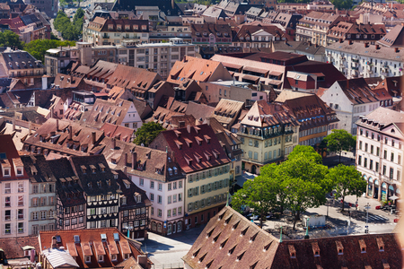 High view of streets of Basel with traditional old houses at sunny day, Switzerland