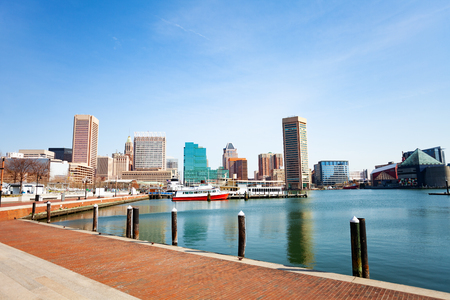 Baltimore Inner Harbor marina and skyscrapers, USA