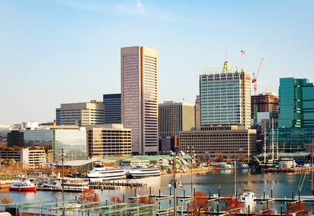 Inner Harbor marina and Baltimore skyline, USA