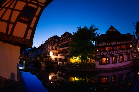 Petit France quarter in Strasbourg during sunset