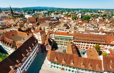 Basel cityscape with Elisabethenkirche bell tower Switzerland Stock Photo