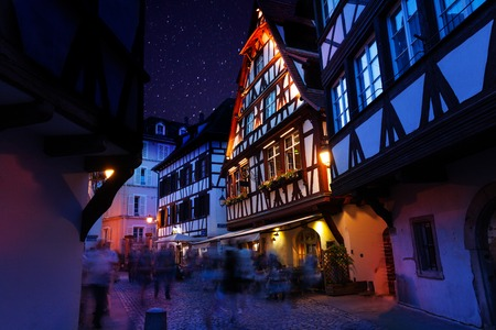 Beautiful view of Strasbourg streets at night Stock Photo