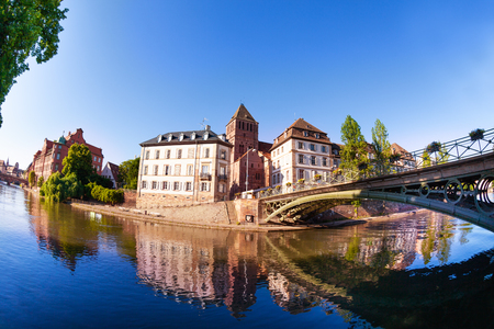 Green bridge over the Ill river in Strasbourg