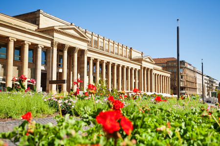 Castle Square with flowered bed in Stuttgart