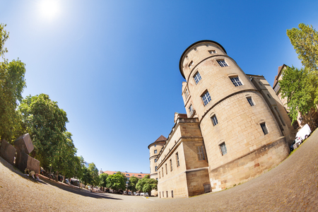 Old Castle tower against blue sky in Stuttgart