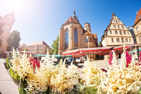 Farmers market with flowers on Schillerplatz, Germany