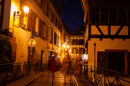Night view of Petit France quarter in Strasbourg