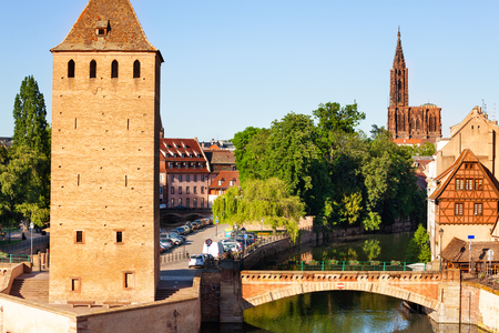 Grande Ile island and Strasbourg cathedral, France Stock Photo