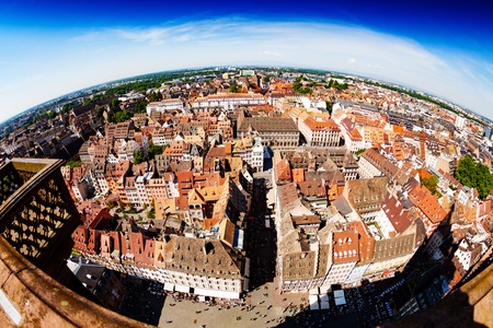 Strasbourg downtown panorama, capital of Alsace France