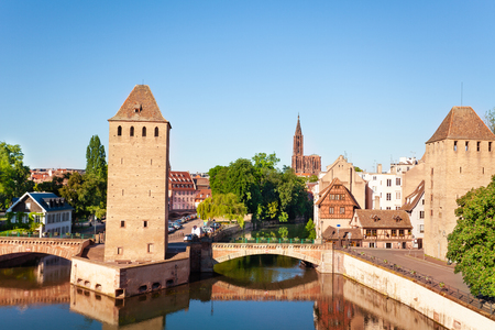 Strasbourg defensive towers at Grande Ile island Stock Photo