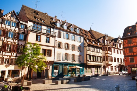 Strasbourg street with traditional French houses, France Stock Photo