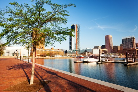 Beautiful view of Baltimore Inner Harbor skyline Stock Photo
