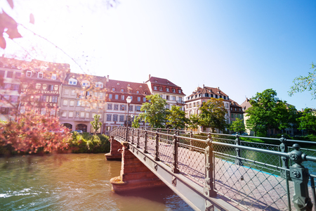 Strasbourg canal in spring light, France, Europe Stock Photo