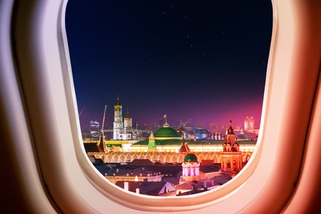 Moscow Kremlin in Russia view from plane window