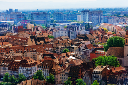 Downtown and newer districts of Strasbourg view Stock Photo