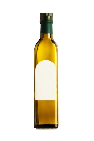 Olive oil bottle isolated with blank label Stock Photo