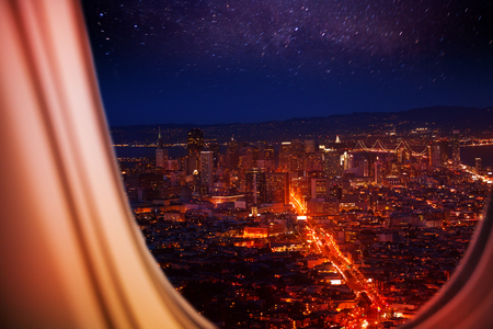 USA town night panorama view from plane window