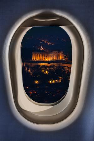 Greece Athens Parthenon view from plane window Stock Photo