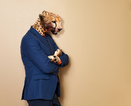 Male cheetah in office clothing suit and shirt
