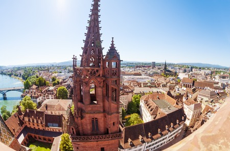 Basel city view with Minster cathedral bell tower Stock Photo