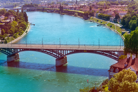 Rhine river and the Wettstein Bridge in Basel Stock Photo - 117473302