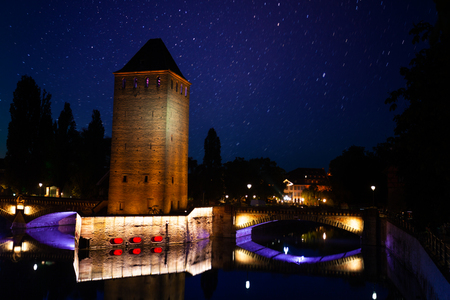 Strasbourg defensive tower against starry sky