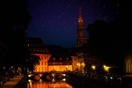 Night view of Strasbourg and Notre Dame Cathedral Reklamní fotografie