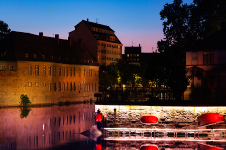 Grande Ile island during sunset in Strasbourg, EU