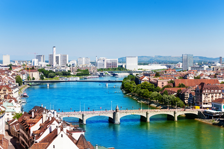Basel panorama with Middle bridge over Rhine river 免版税图像