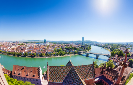 Overlooking Basel and Rhine from Minster cathedral Stock Photo