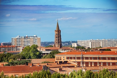 Toulouse cityscape with the Saint-Sernin basilica, France