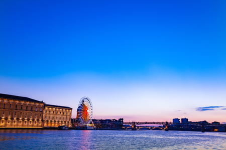 Panoramic view of Garonne riverside during sunset Stock Photo