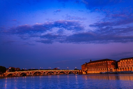 Night view of Garonne river embankment in Toulouse Stock Photo