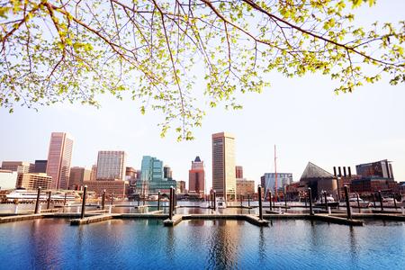 Inner Harbor and Baltimore skyline, in spring, USA
