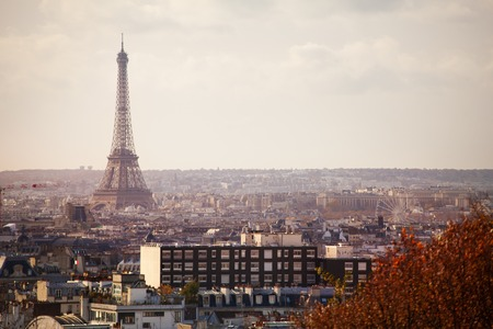 View of Paris and Eifel tower from 20th district Archivio Fotografico - 117586154