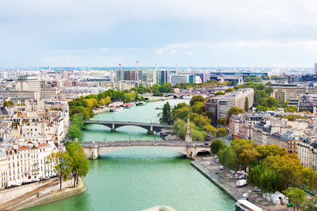 Cityscape of Seine river on east Paris from above