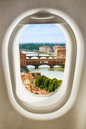 Florence town of Italy view from plane window