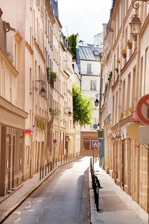 Narrow street Paris historical downtown district, France