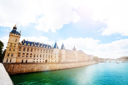 Paris Supreme Court Cour over Seine river Stock Photo