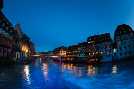 Ill river Embankment during sunset in Strasbourg