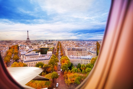 Paris France and Eiffel tower from plane window Stock Photo