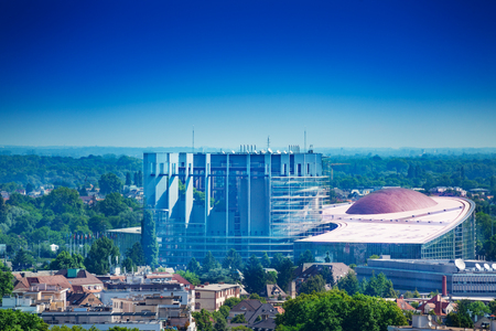 Panorama of Strasbourg and EU parliament, Framce Standard-Bild - 117618249